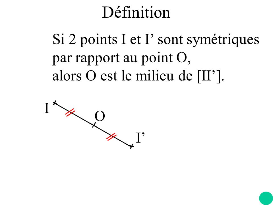 Définition Si 2 points I et I' sont symétriques par rapport au point O, alors O est le milieu de [II'].